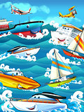 Cartoon ships and the sea