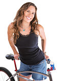 Cheerful Woman with Mountain Bike