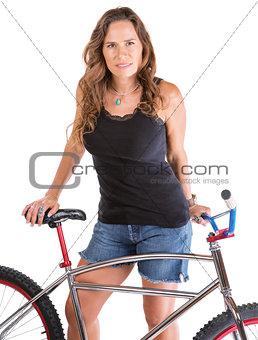 Beautiful Lady with Mountain Bike