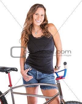Cute Woman with Bike