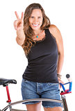 Girl Gesturing Victory with Her Bike