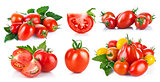 Set fresh tomatoes with green leaf