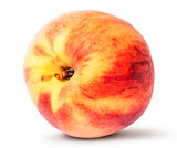 Wholly sideways ripe peach