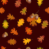 Fall oak leaves and acorns seamless background