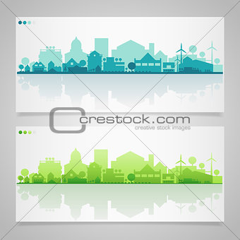Small town and village silhouettes. Multicolored collection