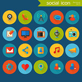 Trendy detailed social icon set