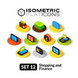 Isometric flat icons set 12