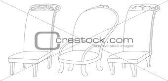 Chairs set, contour