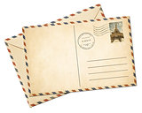 Old par avion postcard and envelope isolated
