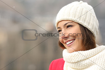 Candid girl with white teeth and smile in winter