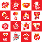 collection of vector logos for gifts