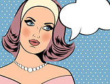 Pop Art illustration of woman with the speech bubble