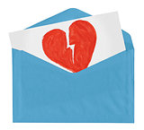 envelope with symbol of broken love
