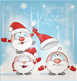 fun santa claus cartoon on snow background