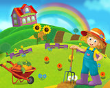 Cartoon farm scene with a girl farmer