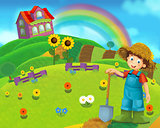 Cartoon farm scene with a boy farmer