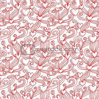 Abstract decorative ornamental seamless pattern. Vector illustration. Cute handdrawn background with hearts.