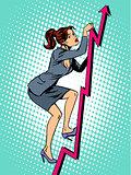 Businesswoman mountaineer schedule of sales