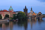 Prague Charles Bridge at Dusk