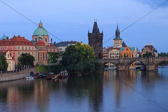 Prague Charles Bridge at Dusk