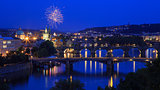 Fireworks over Prague & Charles Bridge