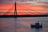 Riga Sunset with Bridge & Boat