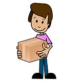 Cartoon man with the box