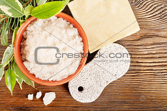 Bath salt and pumice stone