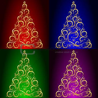Christmas card. Xmas tree.