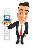 3d businessman applications interface