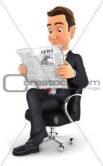 3d businessman reading a newspaper