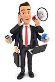 3d businessman multitasking