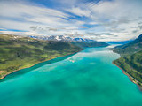 Turquoise waters of norwegian fjord