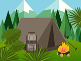 camp forest mountain flat background illustration pine tree backpack fire jungle vector graphic