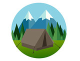 camp forest mountain flat graphic icon illustration pine tree  jungle vector