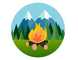 camp fire in forest mountain flat icon pine tree  jungle vector graphic