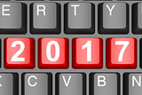 Year 2017 button on modern computer keyboard