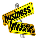 Yellow road sign with business processes word