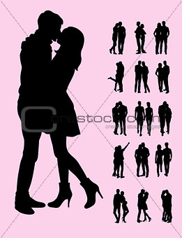 Kiss Couple Silhouettes