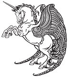 winged unicorn black and white