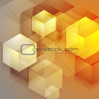 Bright tech geometric background with cubes
