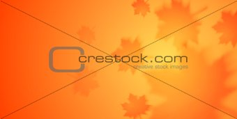 Autumn vector banner with blurred maple leaves