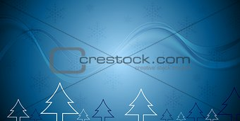Blue Christmas background with fir trees