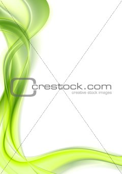 Bright green shiny smooth waves on white background