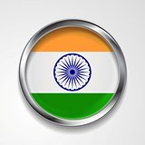 Republic of India metal button flag