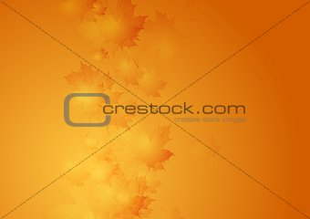 Autumn orange gradient background with blurred maple leaves