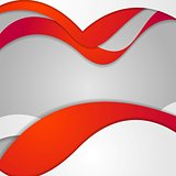 Red grey contrast gradient wavy design