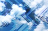 Sky clouds tech background with arrows