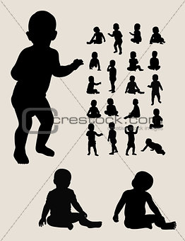 Baby Crawling Silhouettes
