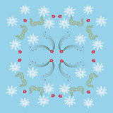 Blue Pattern with Mistletoe and  Snowflakes